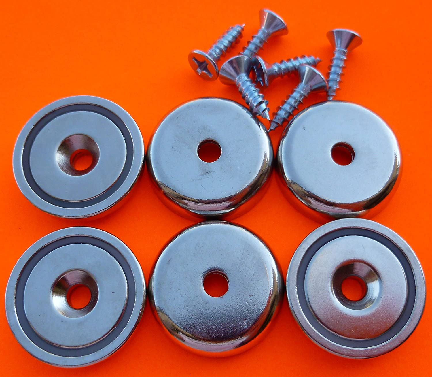 6Pc Super Strong 90 lbs Neodymium Cup Magnet 1.26\