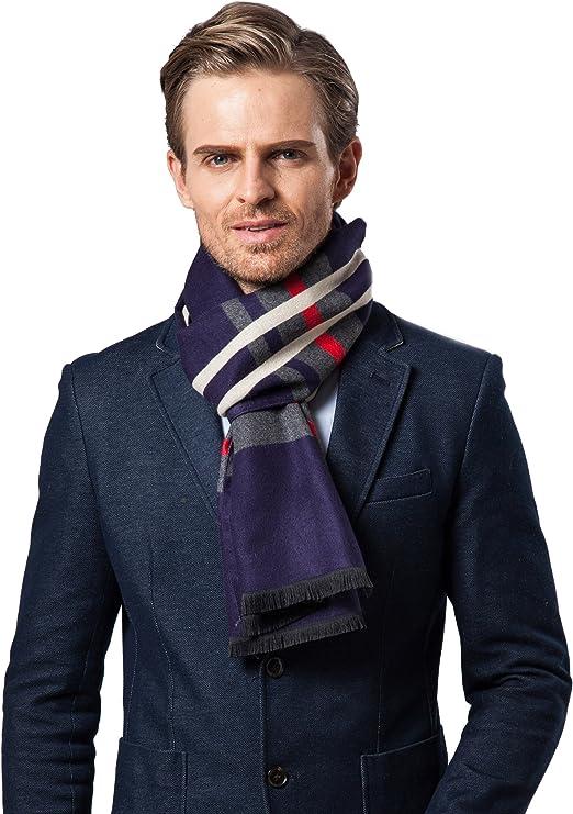 Bufanda Hombre cl/ásico invierno de Super Soft largo de la borla tela escocesa de la bufanda de rayas
