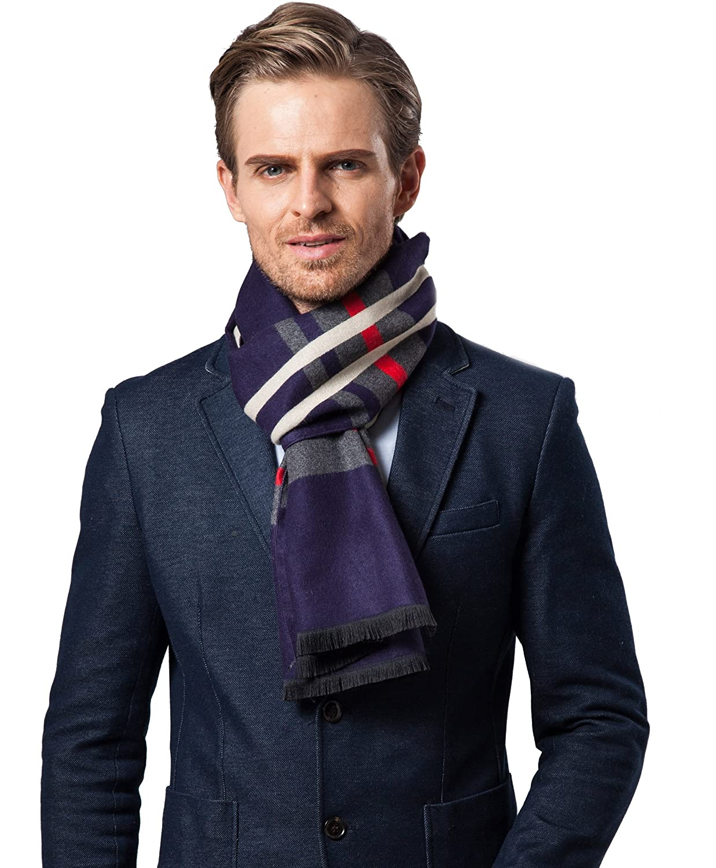 Bufanda Hombre clásico invierno de Super Soft largo de la borla tela escocesa de la bufanda de rayas Tuopuda-30081604C