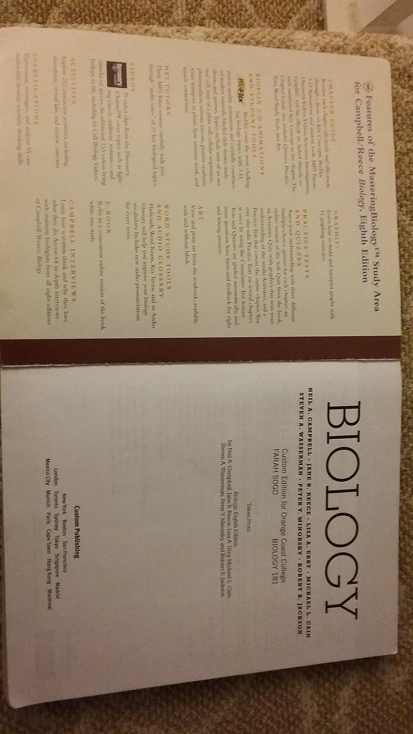 biology custom edition for orange coast college reece urry biology custom edition for orange coast college reece urry cain wasserman campbell 9780536895745 com books