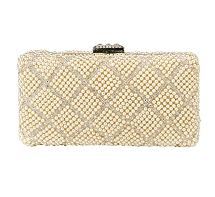 c785c5914d473 Buy PARADOX (LABEL) Women s Metal Pearls Rhinestone Party Fashion Evening  Hand Box Clutch Bag (White) Online at Low Prices in India - Amazon.in