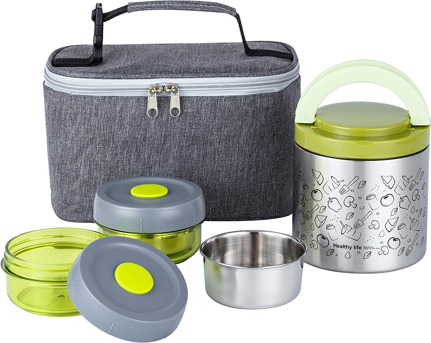 Lille Home Lunch Box Set, An Vacuum Insulated Lunch Box Keeping Food Warm for 4-6 Hours, Two BPA-Free Food Containers, A Lunch Bag (Green)
