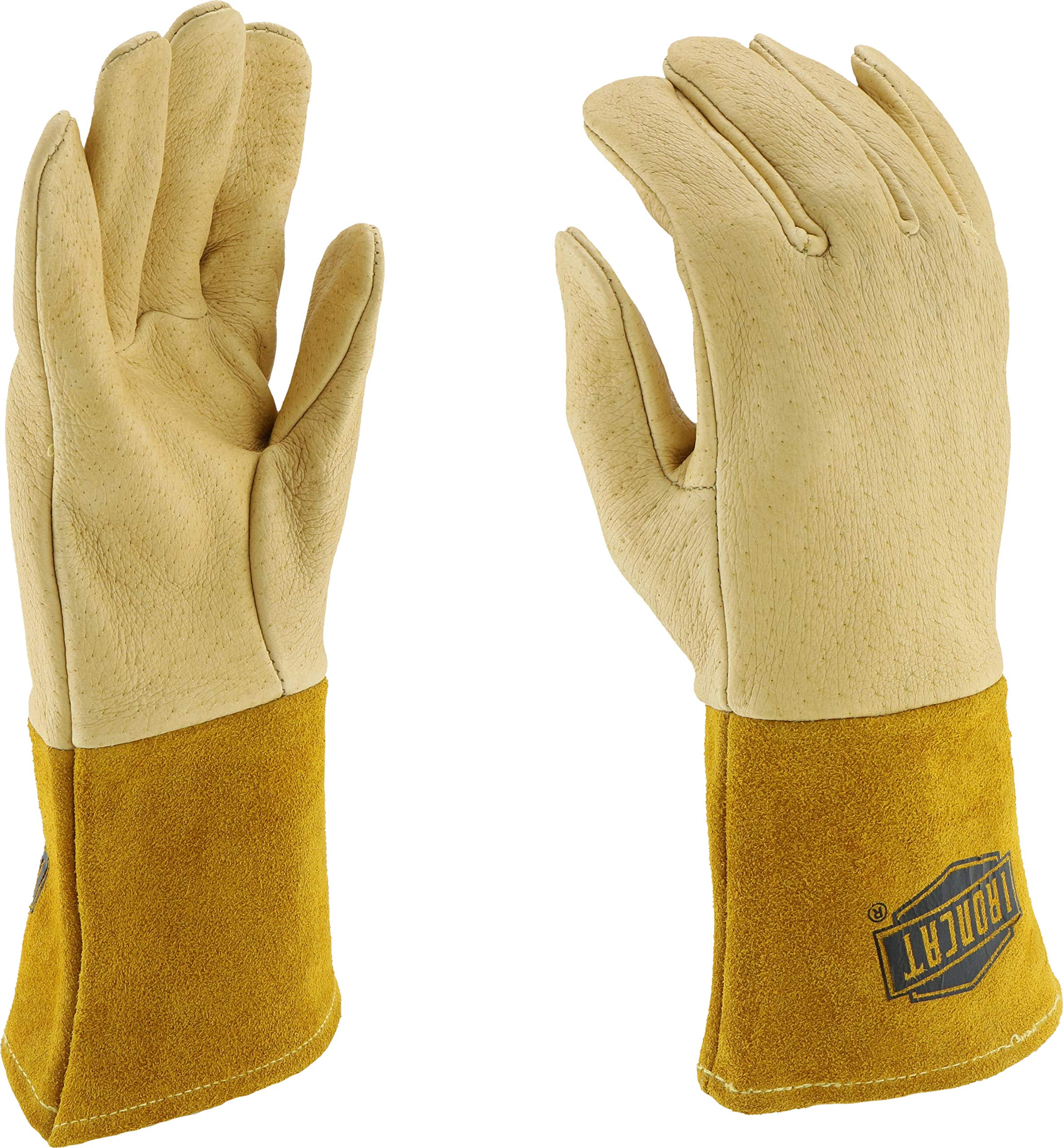 West Chester 6021 Grain Pigskin Leather Heavyweight Top MIG Welding Glove with 4'' Split Cowhide Cuff, Work, 0.9mm Thick, Small, Natural (Pack of 1 Pair)