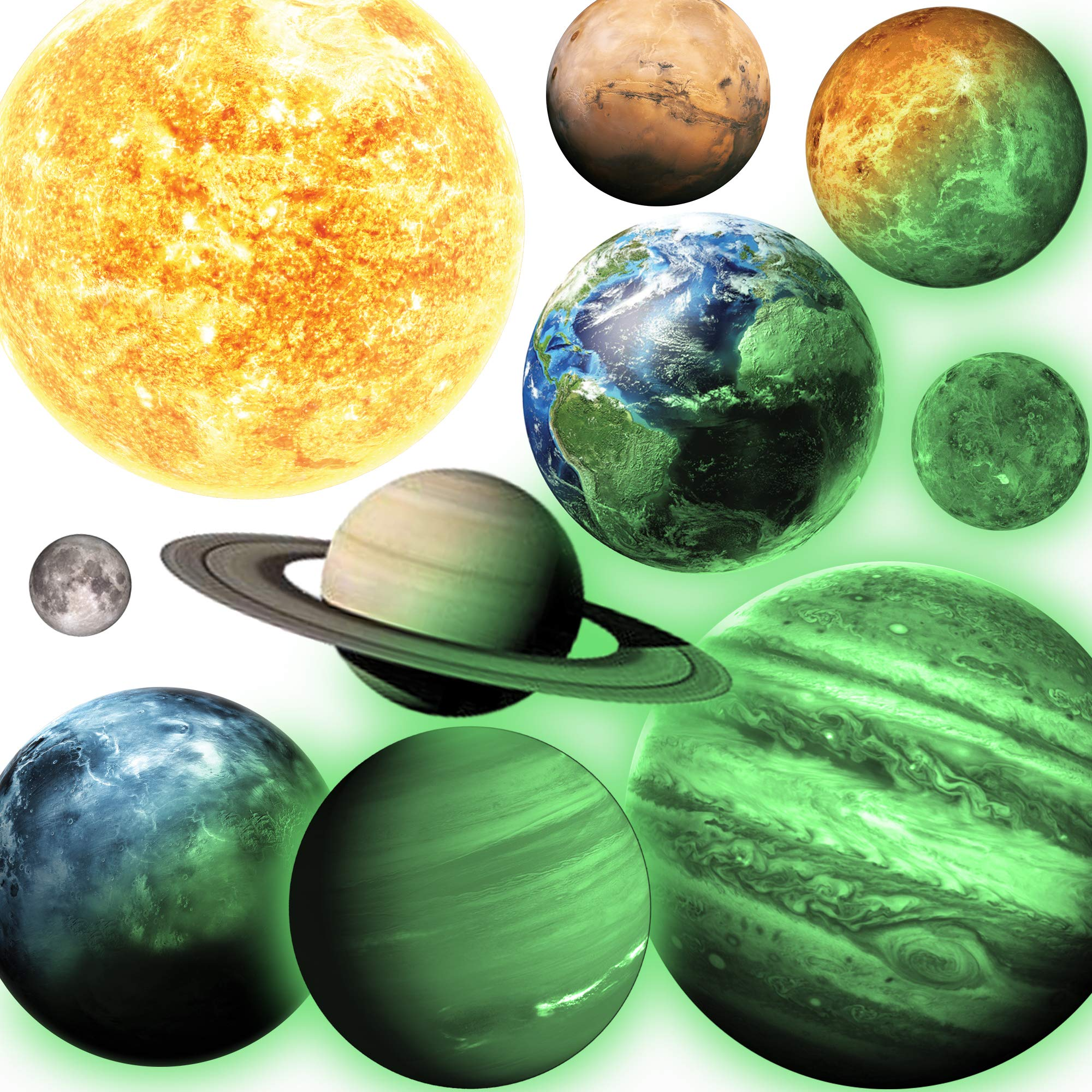 Glow in The Dark Planets, Bright Solar System Wall Stickers -Sun Earth Mars and so on,9 Glowing Ceiling Decals for Bedroom Living Room,Shining Space Decoration for Kids for Girls and Boys