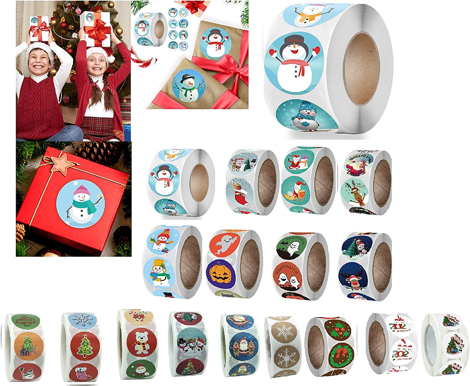 Christmas Stickers,Christmas Roll Pack Sticker, 500 Pieces Round Adhesive Labels for Cards Envelope Gift Boxes Decorative Sealing Stickers,Holiday Wedding Party Favors Supplies (A)