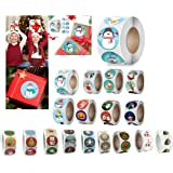Christmas Stickers,Christmas Roll Pack Sticker, 500 Pieces Round Adhesive Labels for Cards Envelope Gift Boxes Decorative Sea