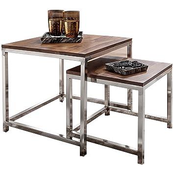 WOHNLING 2er Set Satztisch Massiv Holz Sheesham Wohnzimmer Tisch  Metallgestell Landhausstil Beistelltisch Couchtisch Natur
