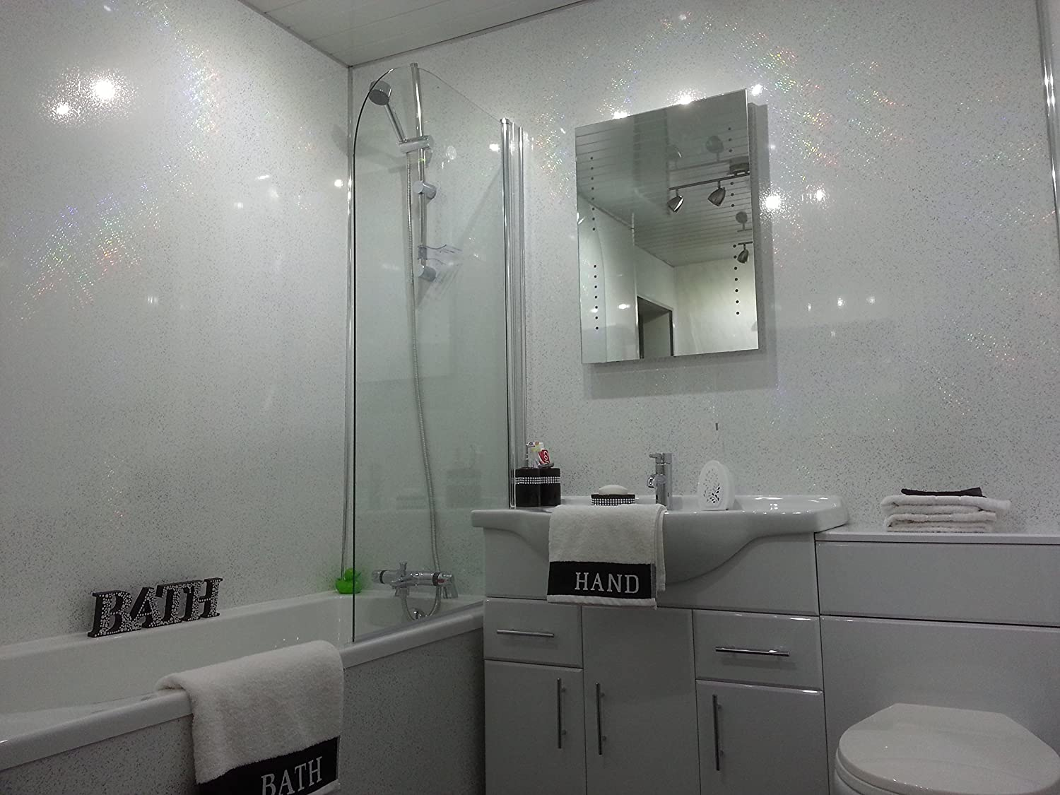 5 White Sparkle Diamond Effect PVC Bathroom Cladding Shower Wall