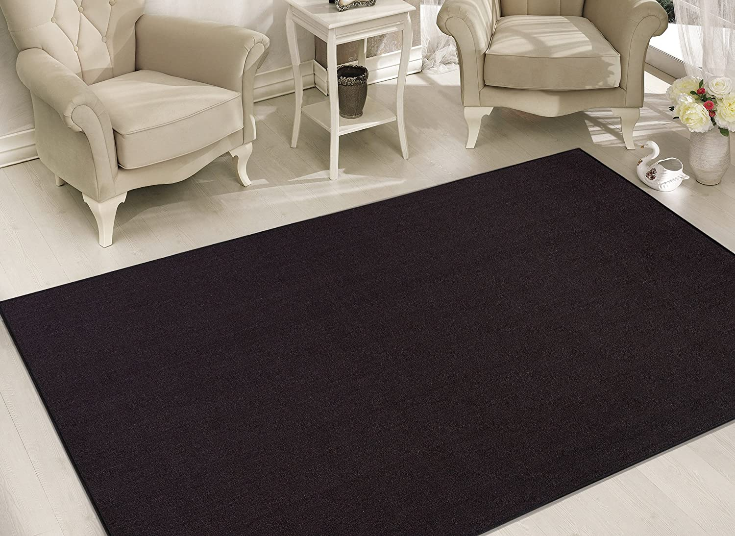 Gray Sweet Home Stores Clifton Collection Solid Design Rubberback Runner Rug