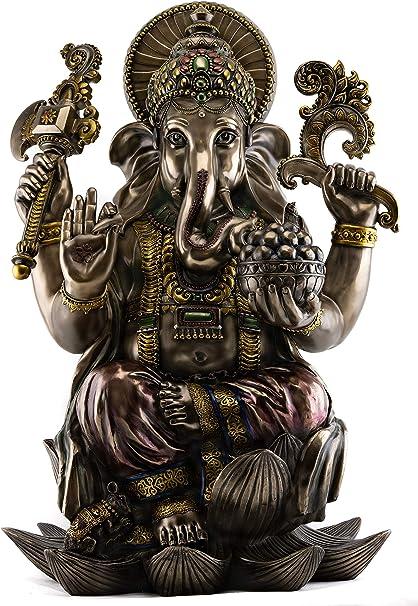 33cm Ganesha Hindu Elephant Gott des Erfolgs Bronze Figur versilbert Thailand