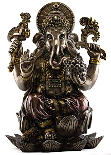 Top Collection Large Ganesha Statue- Hindu Ganesha Lord of Success Sculpture in Premium Cold Cast Bronze – 24-Inch Collectible Figurine