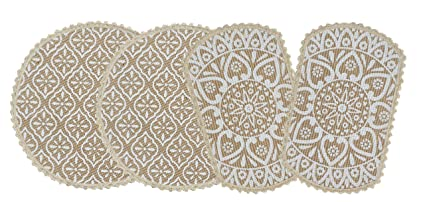 Saral Home Decorative Jute Printed Table Mat (33x33 & 38x23 cm) - Pack of 4 Pieces, White