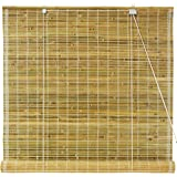 Oriental Furniture Burnt Bamboo Roll Up Blinds - Natural - (36 in. x 71.5 in.)