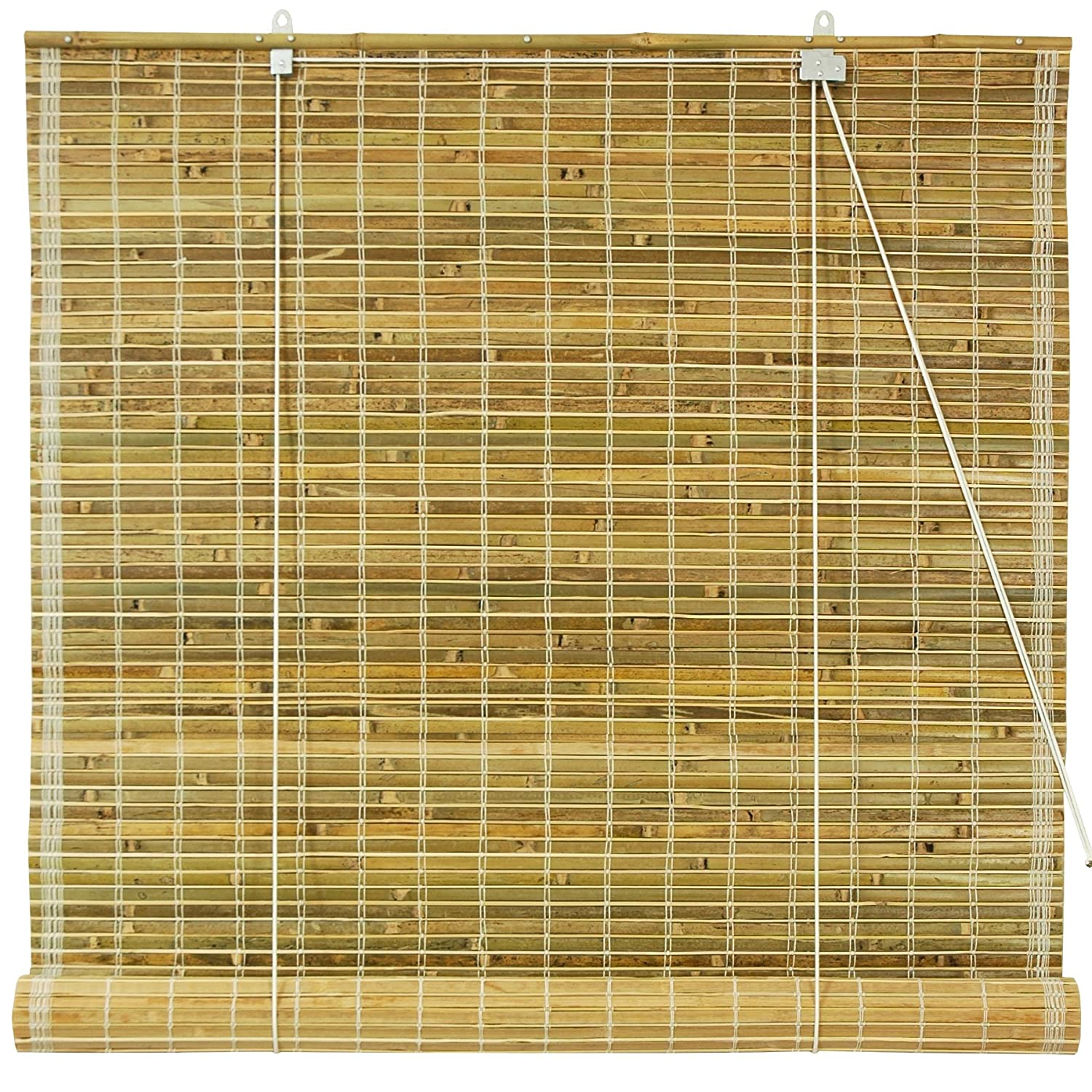 ORIENTAL FURNITURE Burnt Bamboo Roll Up Blinds - Natural - (24 in. x 72 in.) WT-YJ1-8B50-24W