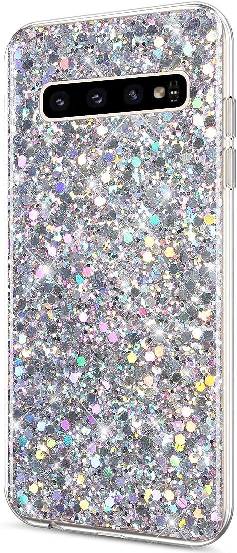 YSIMEE Compatibile Cover Samsung Galaxy S10e,Custodie Gel Trasparente Brillantini Glitter Case con Scintillio Diamante Rinforzato Placcatura TPU Silicone Morbida Ultra Sottile Antiurto,Argento