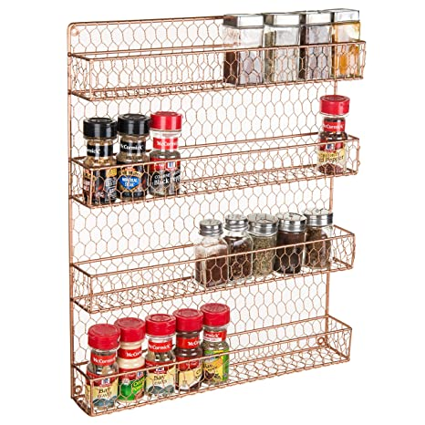 4 Tier Copper Tone Country Rustic Chicken Wire Pantry Cabinet Or Wall Mounted Spice Rack Storage Organizer