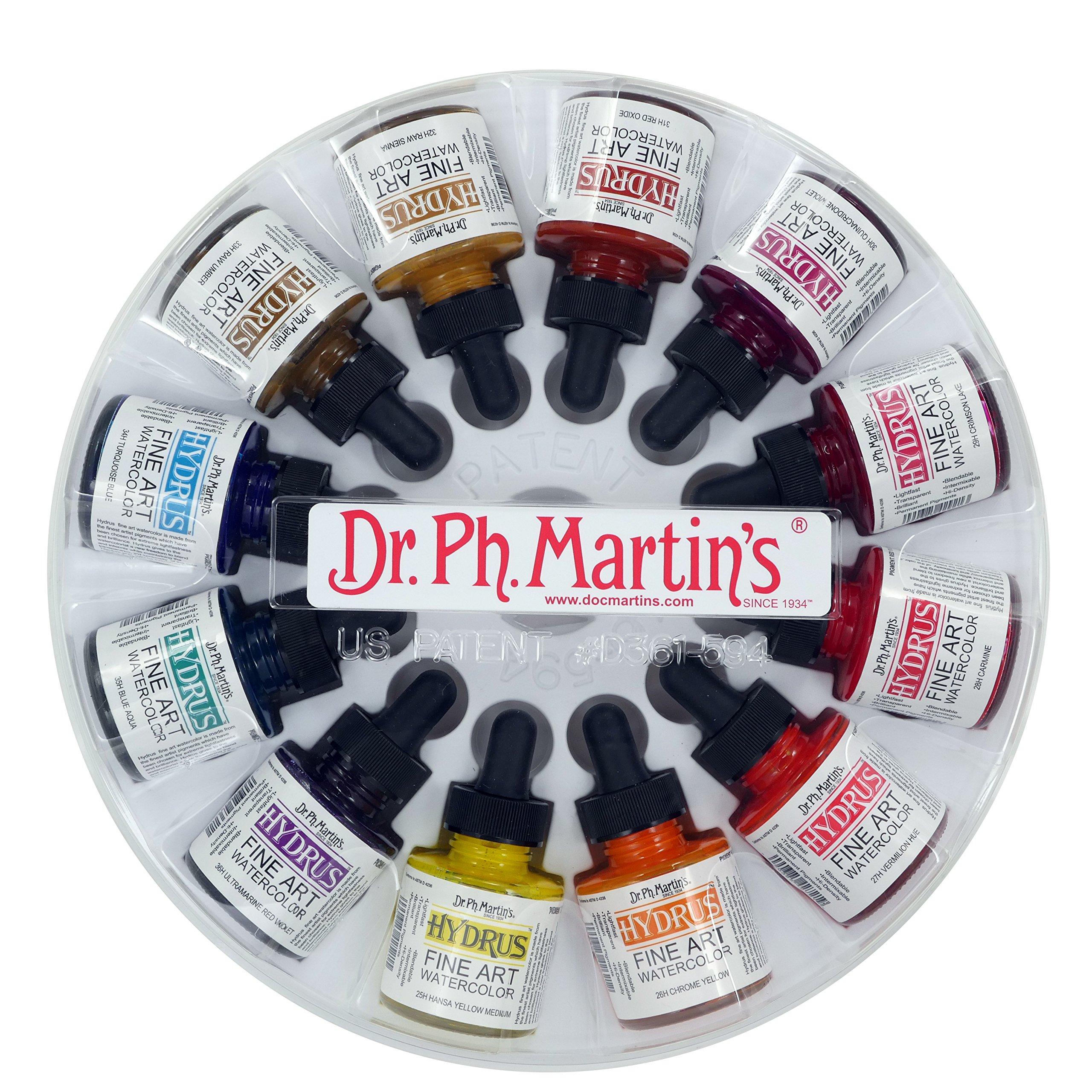 Dr. Ph. Martin's Hydrus Fine Art Watercolor Bottles, 1.0 oz, Set of 12 (Set 3)