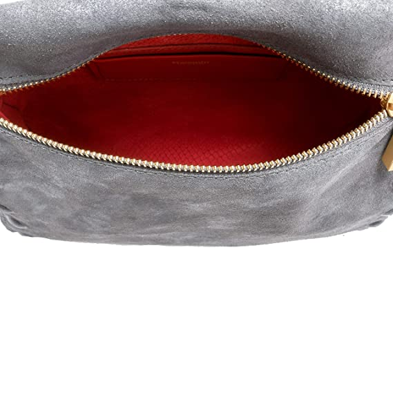 5c5e589267 Amazon.com  Hammitt Women s Paul Embossed Crossbody Bag Awa Buffed Grey  with Brushed Gold Accents Embossed Red Suede  Clothing