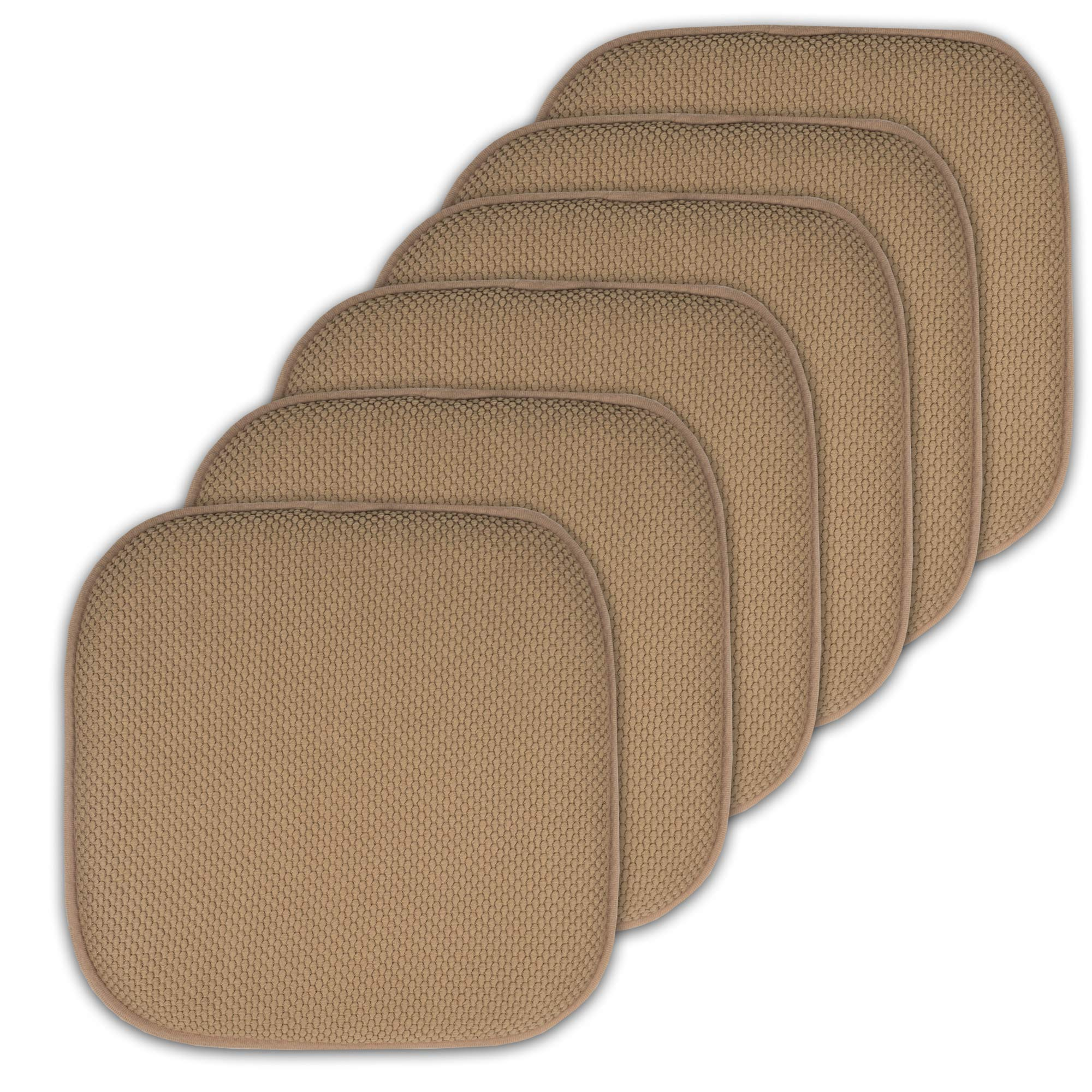 Sweet Home Collection Cushion Memory Foam Chair Pads Honeycomb Nonslip Back Seat Cover 16'' x 16'' 6 Pack Taupe by Sweet Home Collection