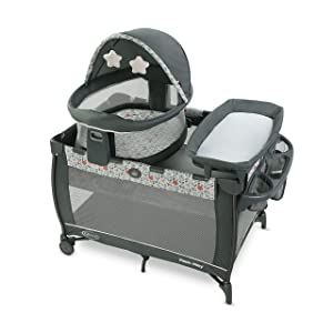 Graco Pack 'n Play Travel Dome LX Playard | Includes Portable Bassinet, Full-Size Infant Bassinet, and Diaper Changer, Annie