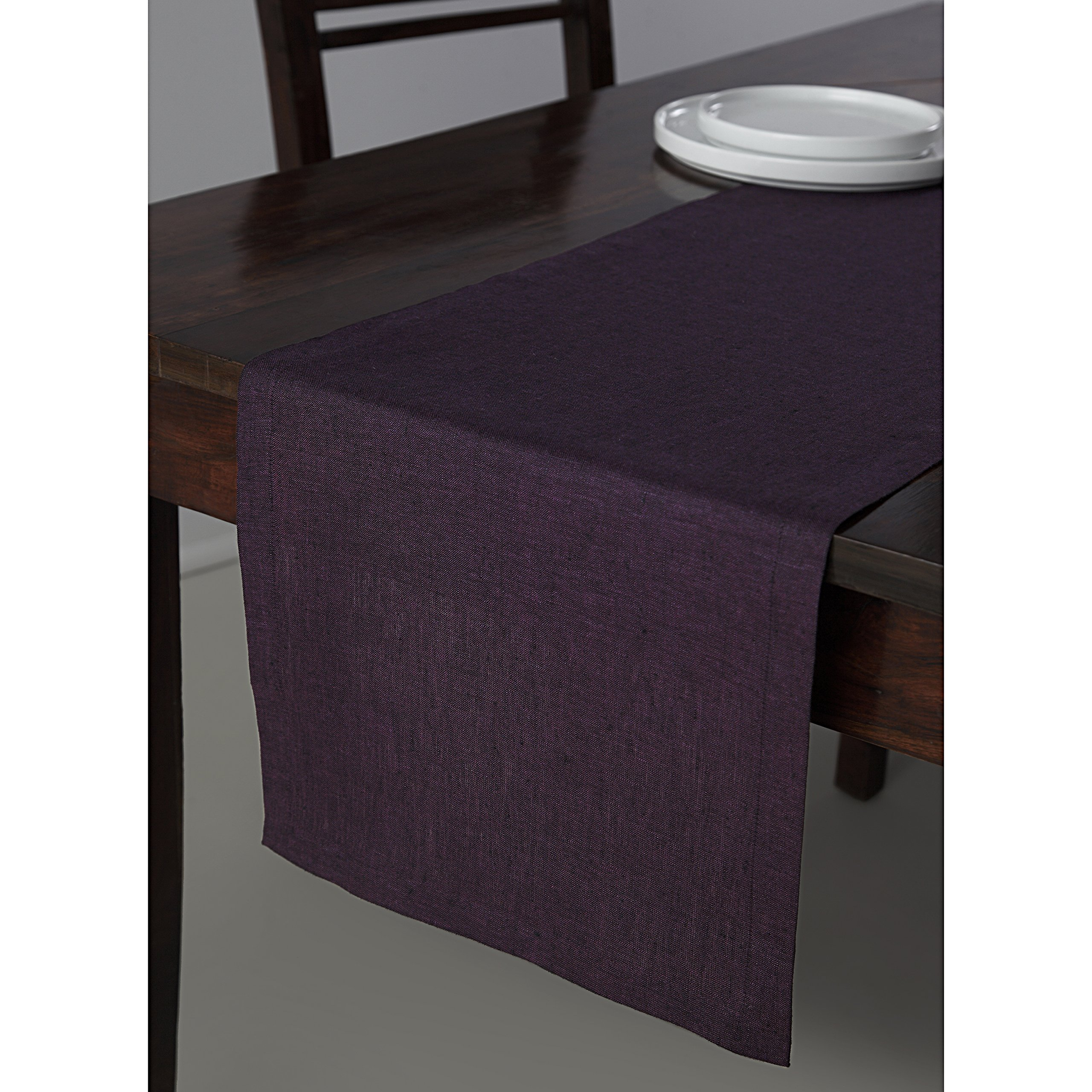 Solino Home 100% Pure Linen Table Runner Athena, Natural Fabric Handcrafted Runner, Purple 14 x 36 Inch by Solino Home (Image #1)