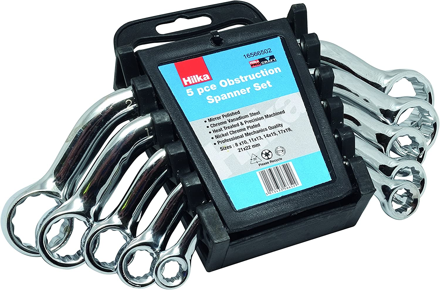 Combination Spanner Set 16 Metric Spanners 6-22mm by Hilka