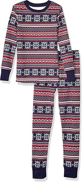 Amazon Essentials Kid's Long-Sleeve Tight-Fit 2-Piece Pajama Set, Navy Fairisle, X-Large