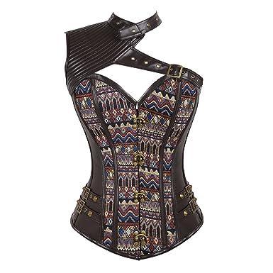 a617a5e9b1 lttcbro Women s Spiral Steampunk Corset Top Halter Neck Rivets Leather  Jacquard Bustiers Brown Small