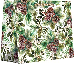 Jillson & Roberts Large Christmas Gift Bags, Elegant Pine (60 Pcs)