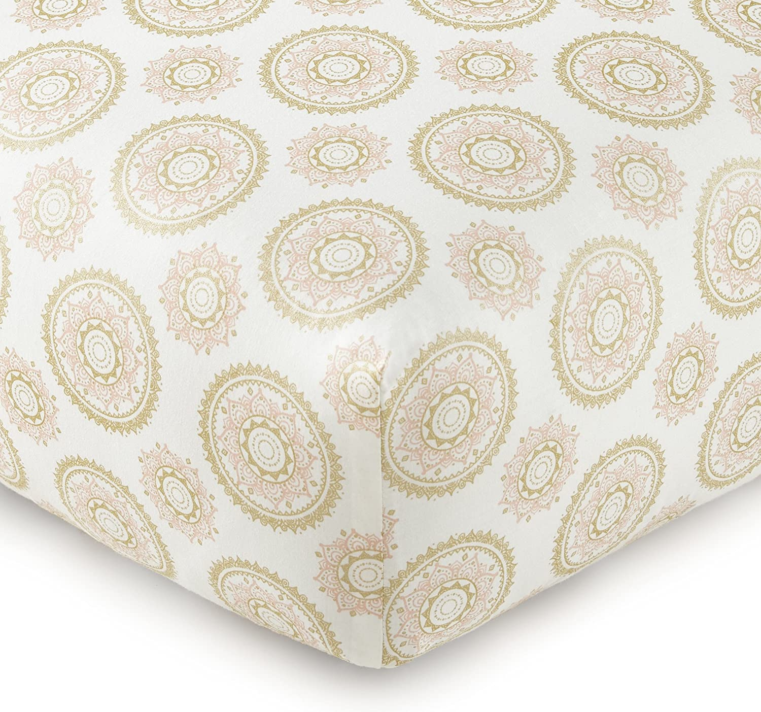 Levtex Home Baby Little Feather Medallion Fitted Sheet, Coral/Gold