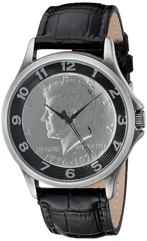 August Steiner メンズ腕時計 シルバークォーツ CN010BK 腕時計 ケネディハーフダラーダイヤル ブラックレザーストラップ B011O1A1NE