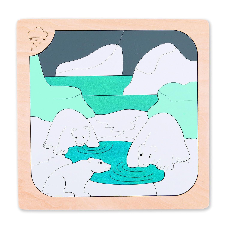 Hape - E6519 - George Luck - Puzzle - Chaud et Froid - 34 pièces