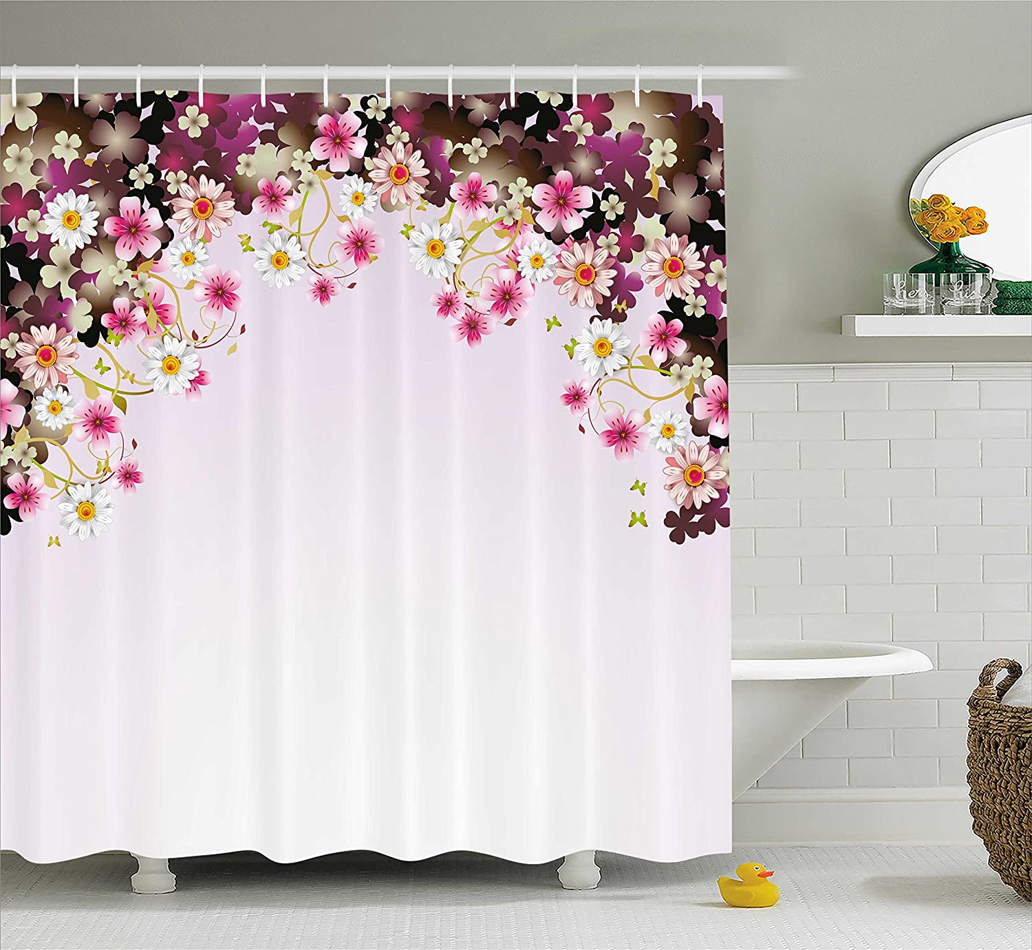 Ambesonne Grunge Decor Shower Curtain Set, Rustic Wooden Garden Fence with a Red Daisy Bloom Picture Flower Art Floral Garden Design, Bathroom Accessories Collection, Polyester Fabric,Grey Red sc_20971
