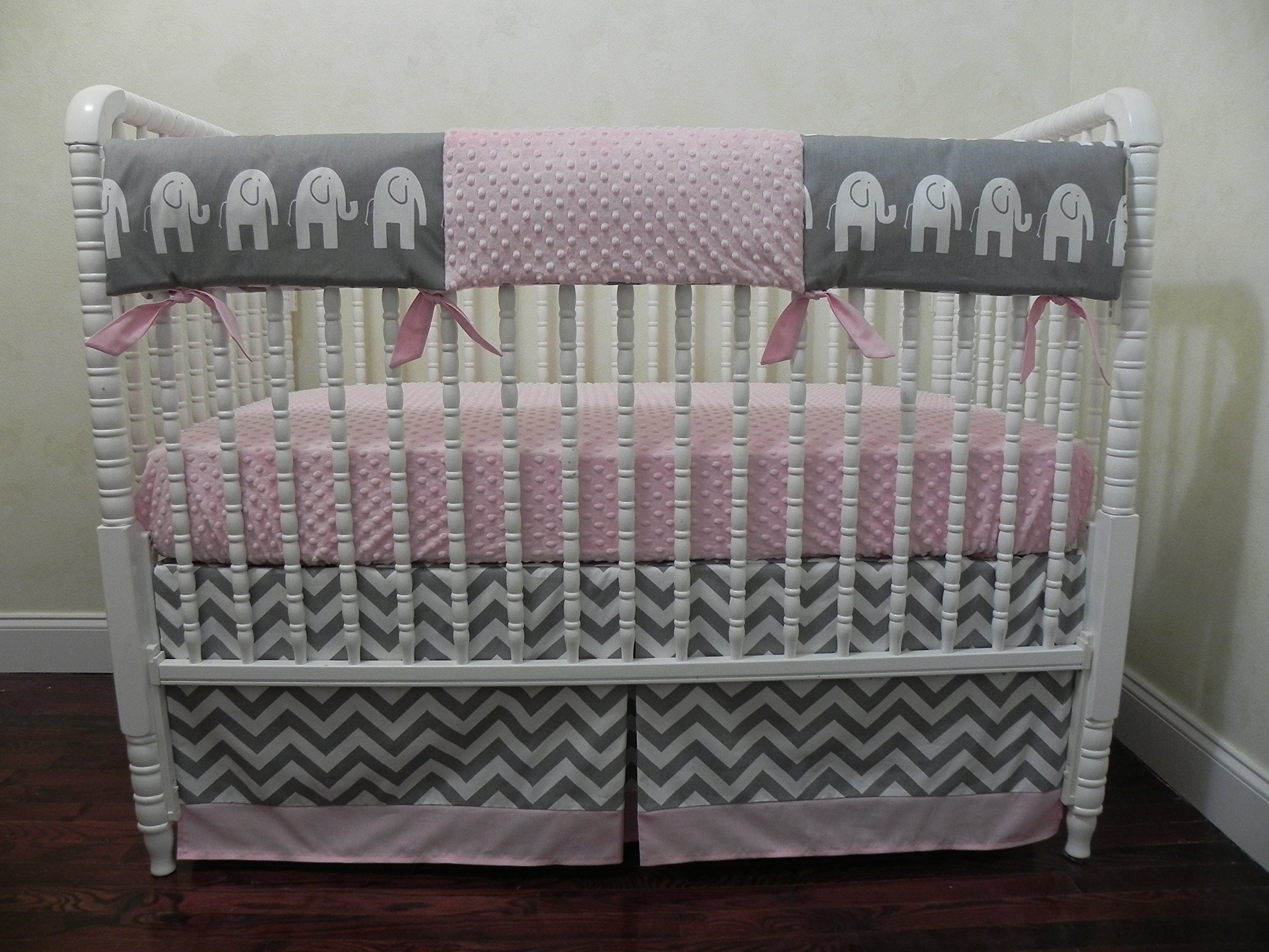 eb38fbfca6b14 Nursery Bedding, Bumperless Baby Crib Bedding Set Gigi, Baby Girl Bedding,  Teething Rail Guard Cover, Elephant Baby Bedding in Gray, White, and Light  ...
