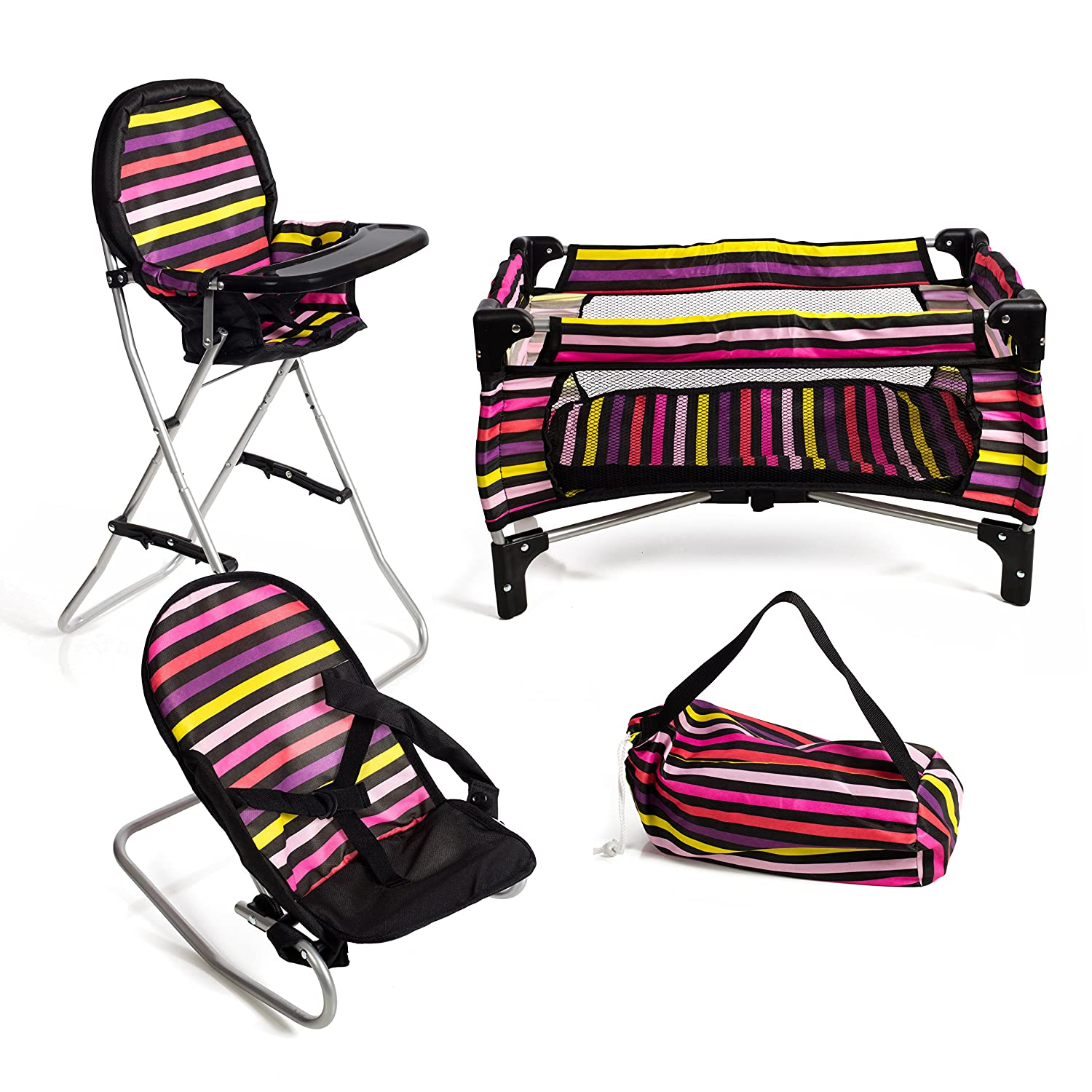 Mommy & Me 3 in 1 Doll Play Set Striped 1 Doll Pack N Play. 2 Doll Bouncer 3.Doll High Chair. Fits 18'' Doll