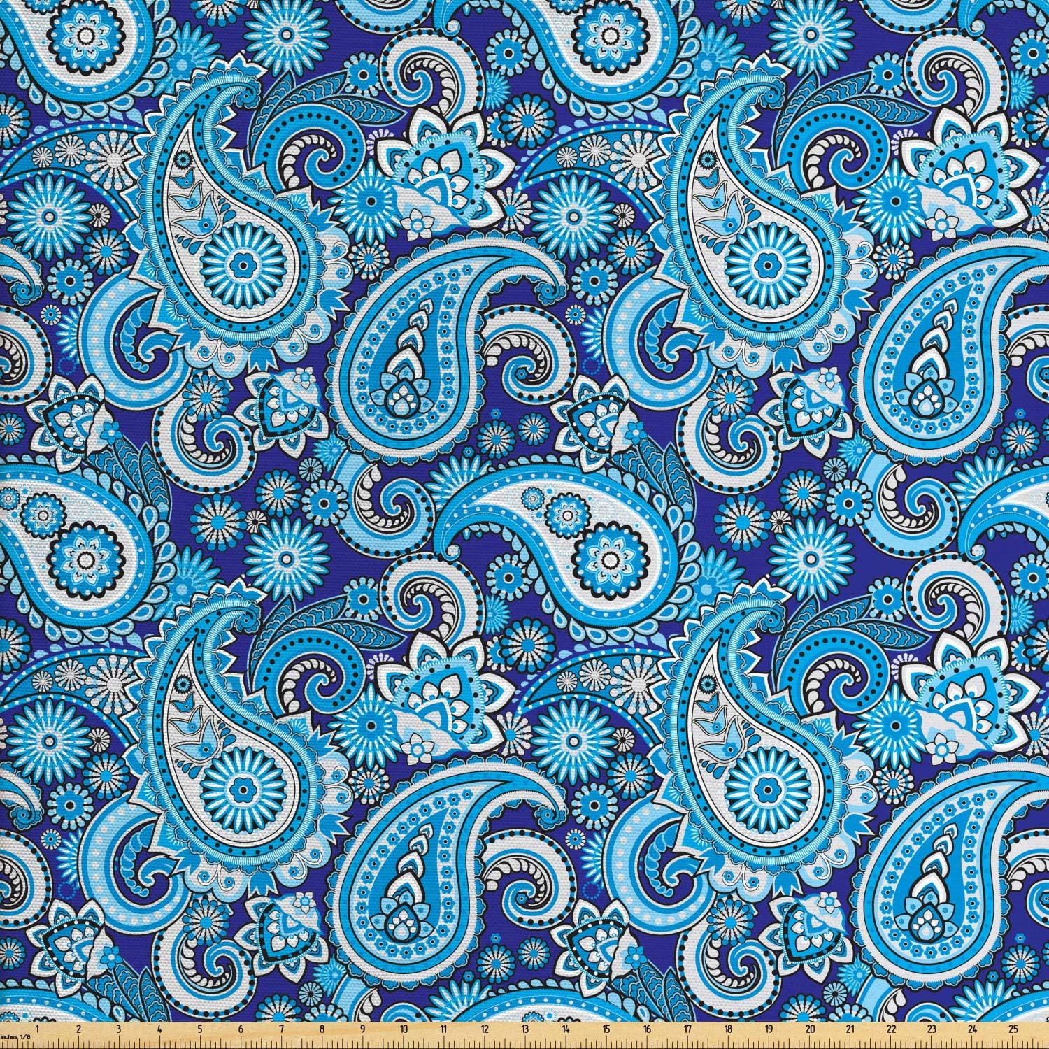 Ambesonne Paisley Fabric by The Yard, Traditional Pattern Design Flowers Leaves and Dots Backgrounded Artwork Print, Decorative Fabric for Upholstery and Home Accents, 1 Yard, Aqua Blue