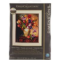 """DIMENSIONS Crafts The Gold Collection Counted Cross Stitch Kit, Parrot Tulips, 15"""" x 12"""", 70-35305"""