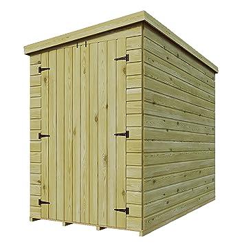 8 x 4 de madera tratada a presión doble puerta cobertizo (Lean Tongue & Groove