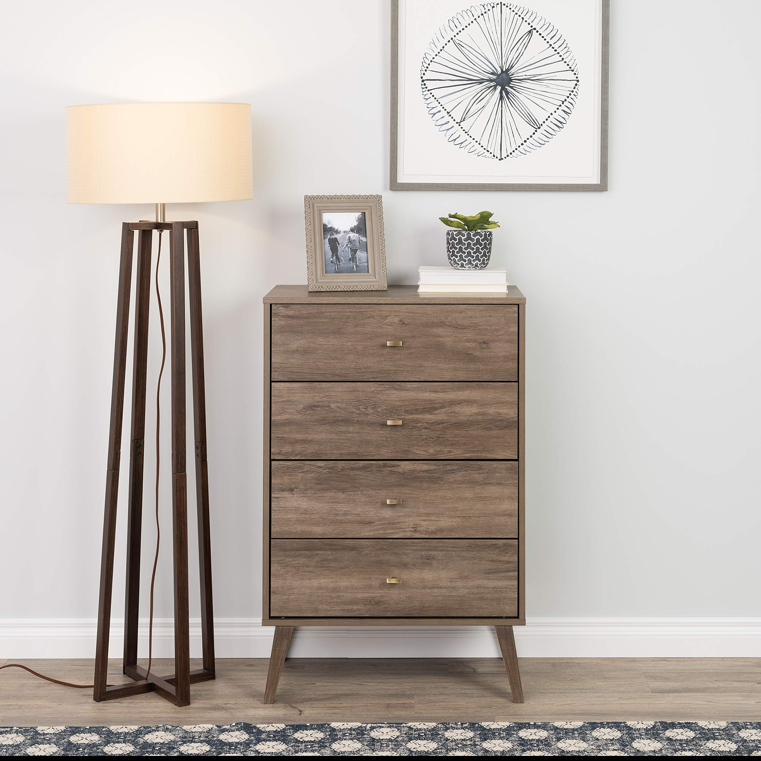 Prepac Milo Mid Century Modern 4 Drawer Chest in Drifted Gray by Prepac