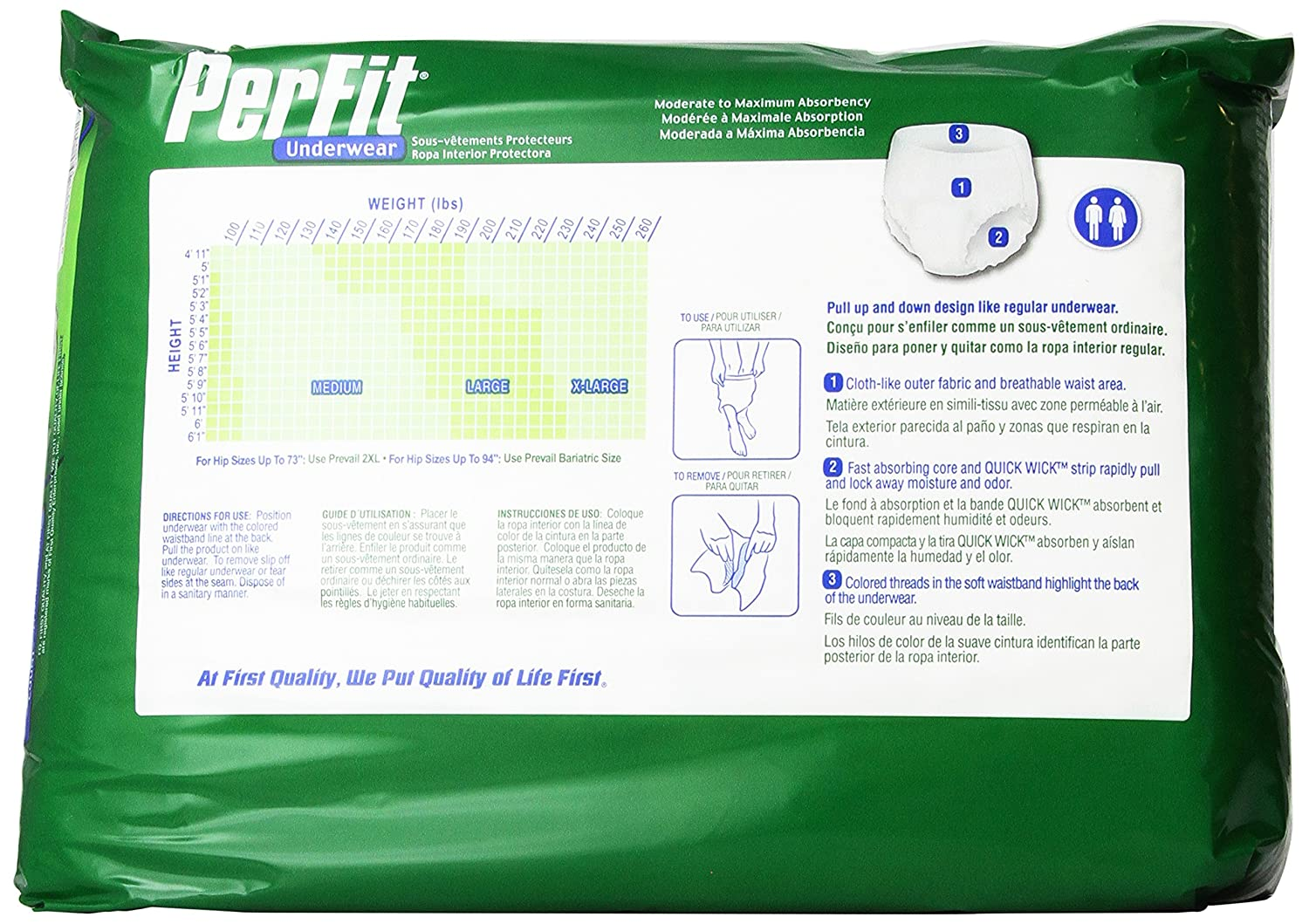 Amazon.com: Prevail Per-Fit Extra Absorbency Incontinence Underwear, Large, 18-Count: Health & Personal Care