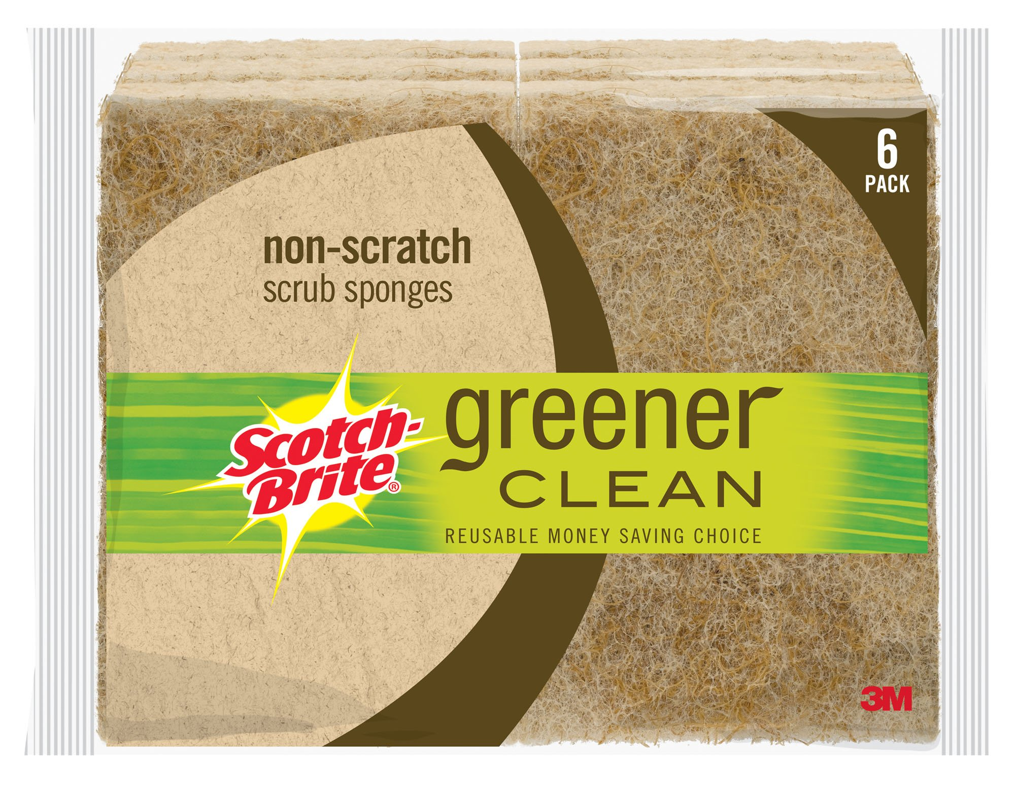 Scotch-Brite Greener Clean Non-Scratch Scrub Sponges, Made from Plants, Stands Up to Stuck-on Grime, 6 Scrub Sponges