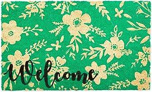 DII Home Natural Coir Doormat, Indoor/Outdoor, 18x30, Welcome Floral