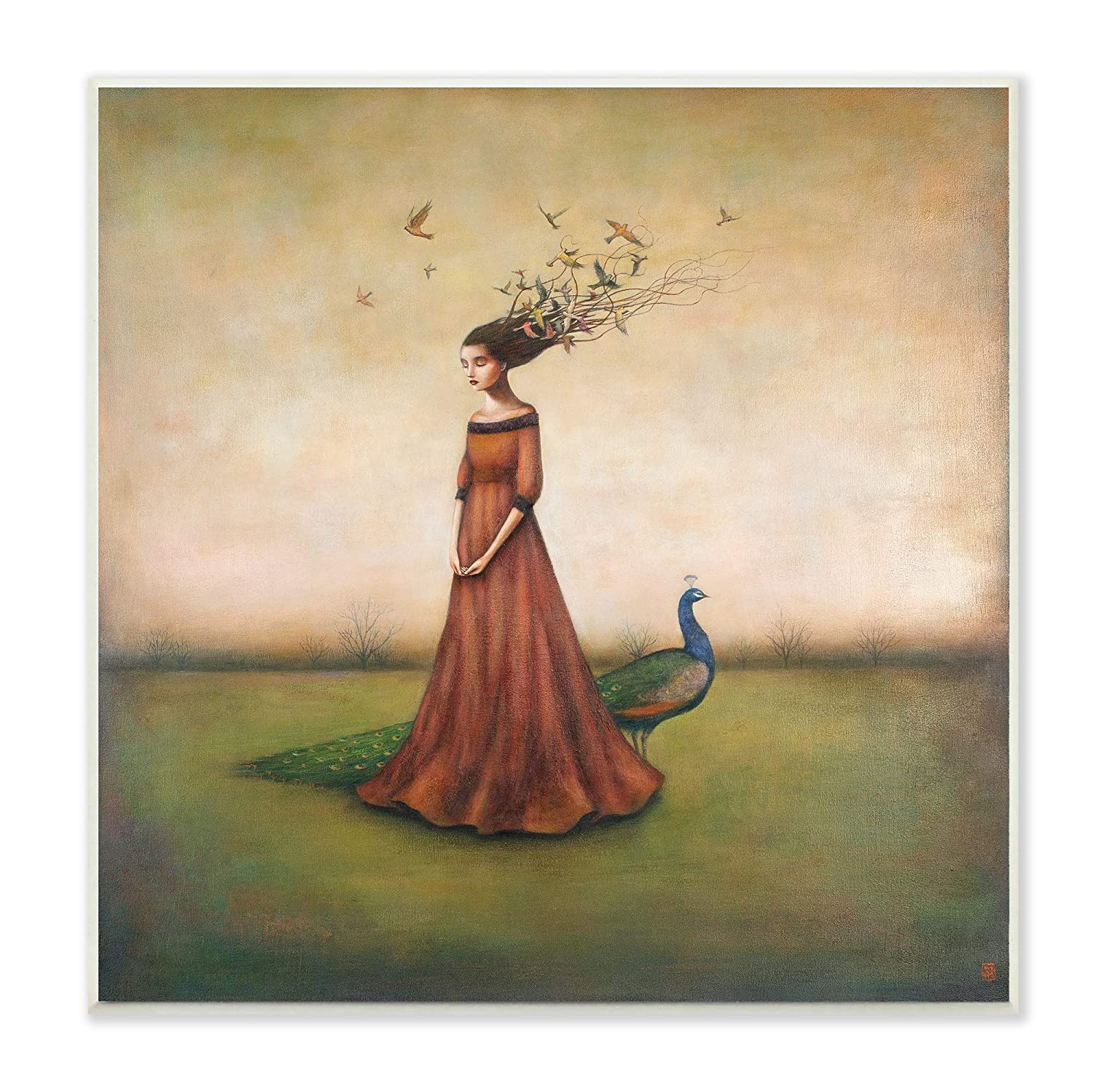 The Stupell Home Decor Beauty and Birds in Her Hair Woman and Peacock Illustration Wall Plaque Art, Multi-Color