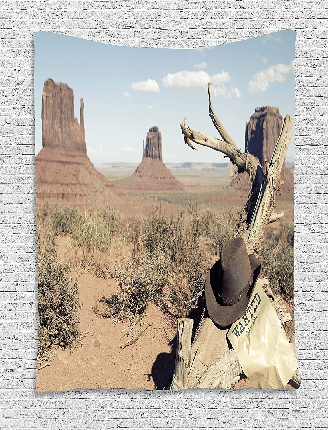 Western Tapestry, Cowboy Hat on Dried Tree Branch and Wanted Sign Desert Monument Alley in USA, Wall Hanging for Bedroom Living Room Dorm, 60 W X 80 L Inches, Tan Light Blue
