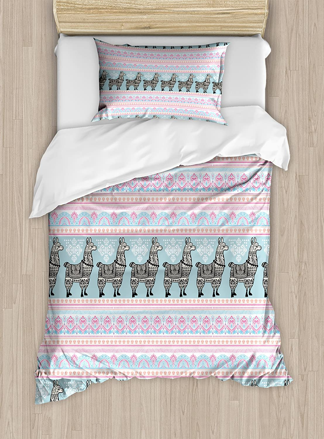 Ambesonne Llama Duvet Cover Set Twin Size