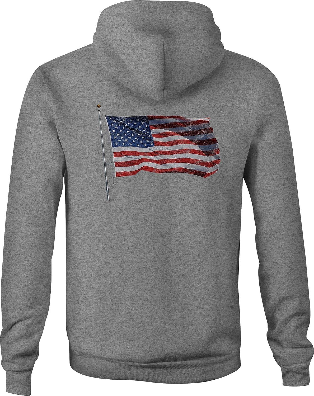 American Zip Up Hoodie Waving Flag USA Hooded Sweatshirt for Men