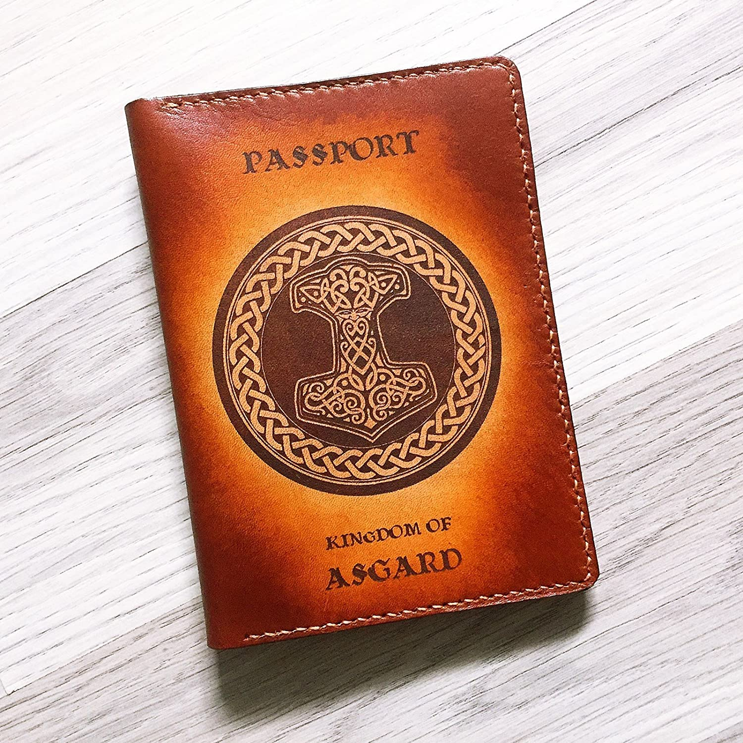 Unik4art - Asgardian Asgard leather handmade passport holder cover wallet Personalized Travel gifts