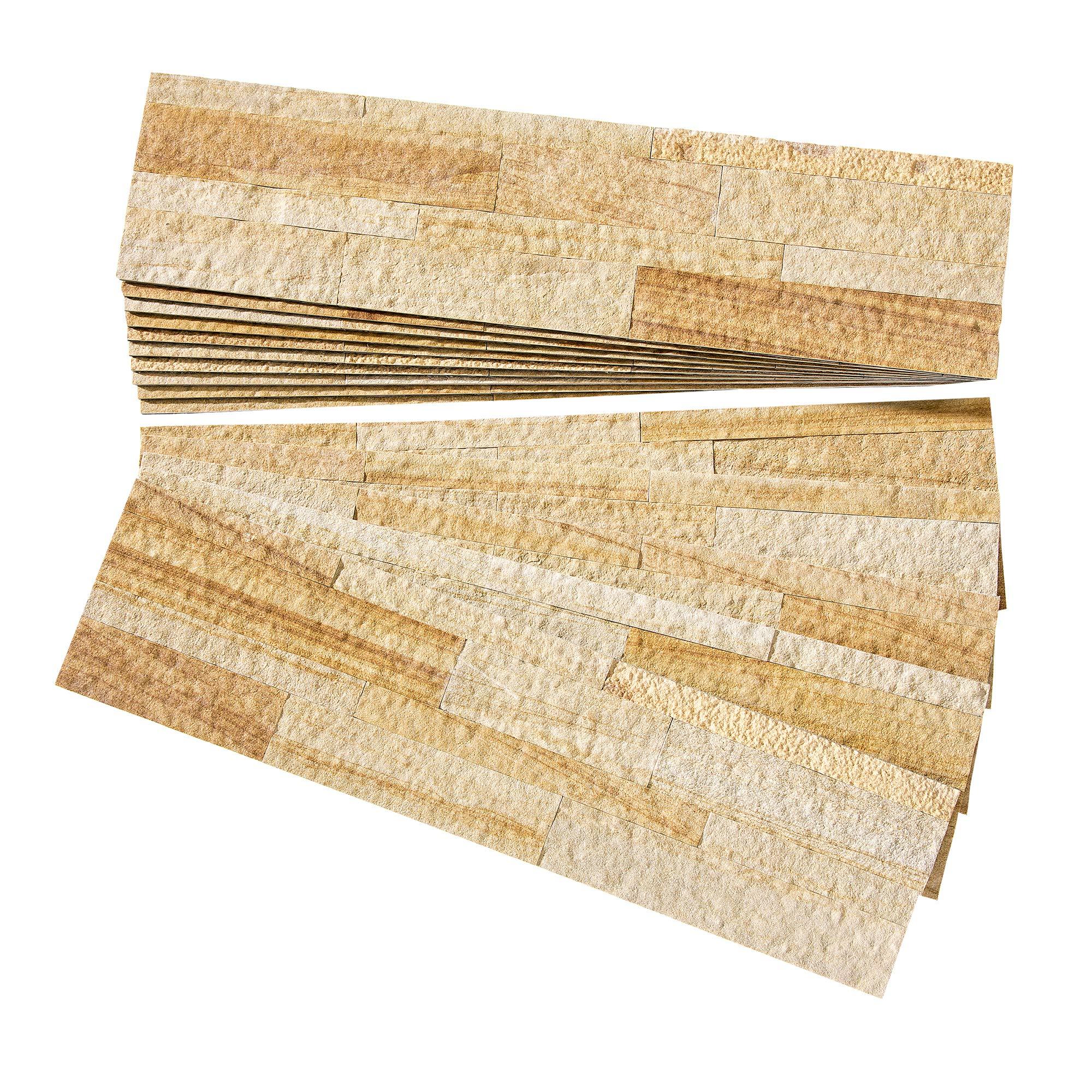 Aspect Peel and Stick Stone Overlay Kitchen Backsplash - Golden Sandstone (Approx. 15 sq ft Kit) - Easy DIY Tile Backsplash
