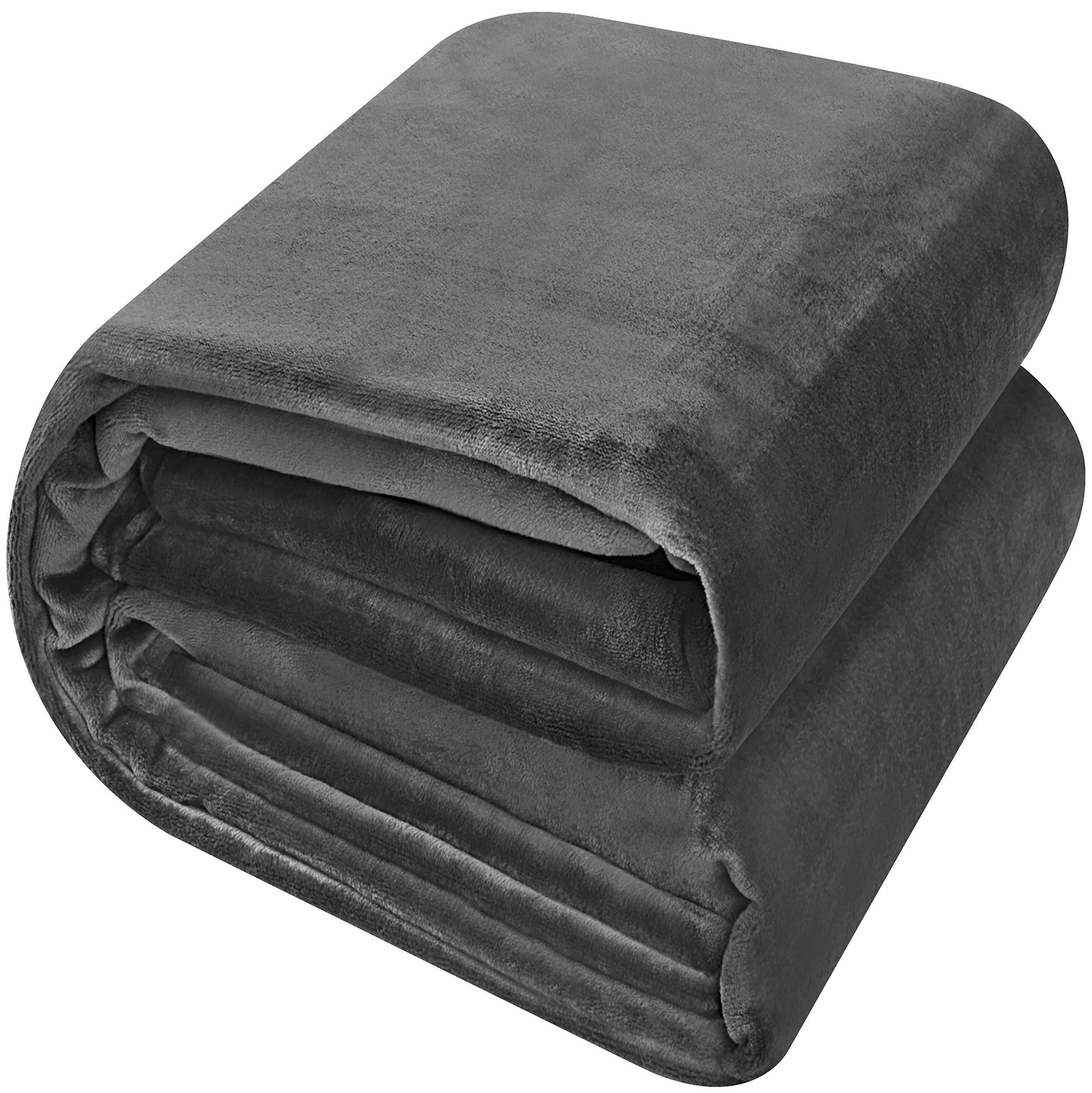 Utopia Bedding Fleece Blanket King Size Grey Luxury Bed Blanket Lightweight Fuzzy Soft Blanket Microfiber