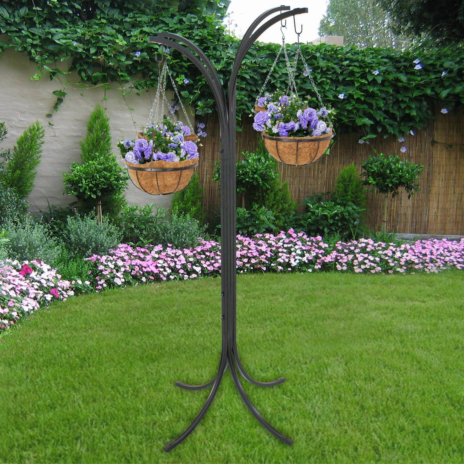 Plant Stand Hanging Holder Basket Patio Outdoor Flower Decor Garden Planter New